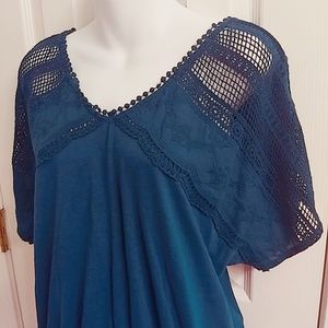 Lauren Conrad Teal Shirt with Lace - NWT - Size S